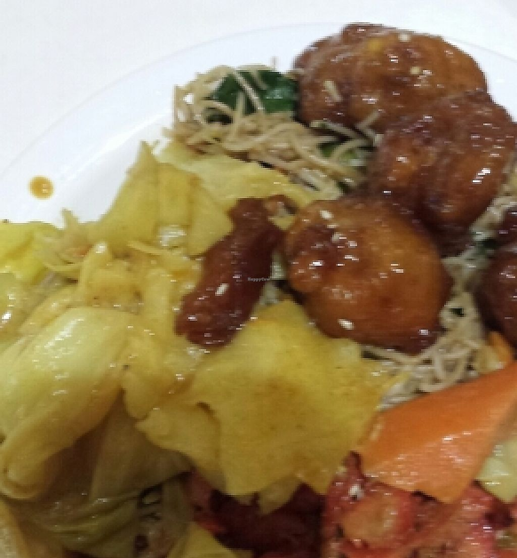 "Photo of Divine Realm Vegie Delight  by <a href=""/members/profile/Aloo"">Aloo</a> <br/>A few options on this plate-all vegan honey chicken, curry, noodles and roast duck.  <br/> November 19, 2015  - <a href='/contact/abuse/image/22948/260143'>Report</a>"