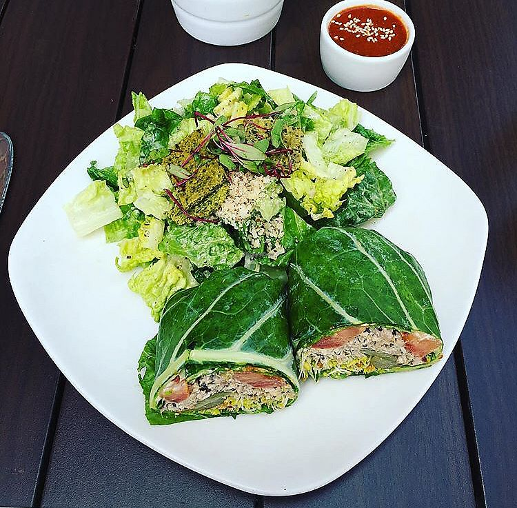 """Photo of Living Kitchen - South End  by <a href=""""/members/profile/KellyMcDonald"""">KellyMcDonald</a> <br/>Mock Tuna in a Collard Green, side Caesar salad <br/> January 4, 2018  - <a href='/contact/abuse/image/22984/342770'>Report</a>"""