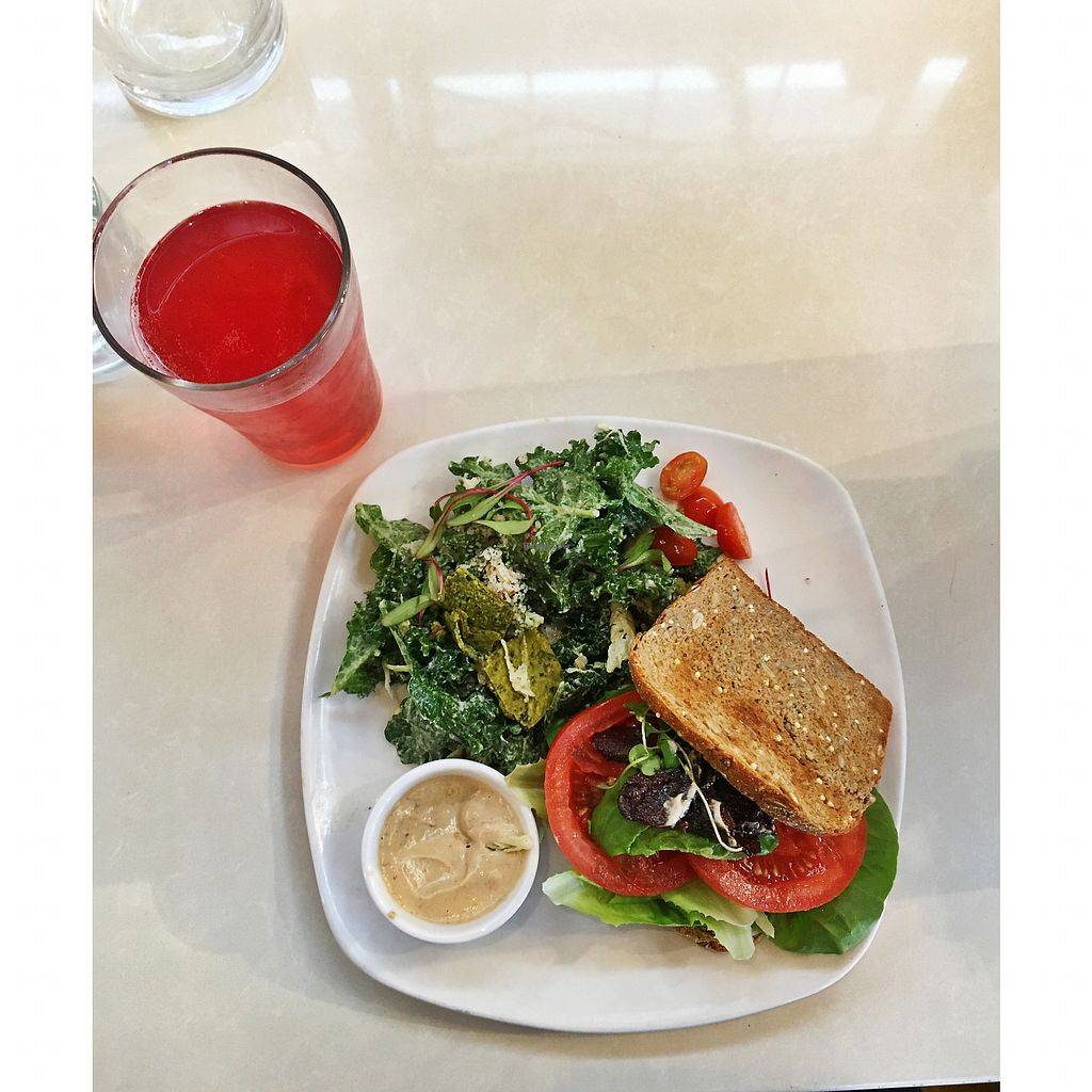 """Photo of Living Kitchen - South End  by <a href=""""/members/profile/Ahp07"""">Ahp07</a> <br/>BLT, kale Caesar salad & Kombucha beer <br/> February 11, 2018  - <a href='/contact/abuse/image/22984/357905'>Report</a>"""