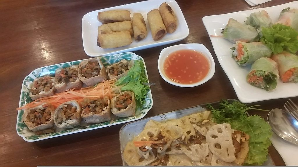 "Photo of The Vegetarian  by <a href=""/members/profile/Without_Cruelty_Blog"">Without_Cruelty_Blog</a> <br/>Spring rolls, tofu puffs, lotus root in cashew cream <br/> November 13, 2016  - <a href='/contact/abuse/image/23003/189614'>Report</a>"