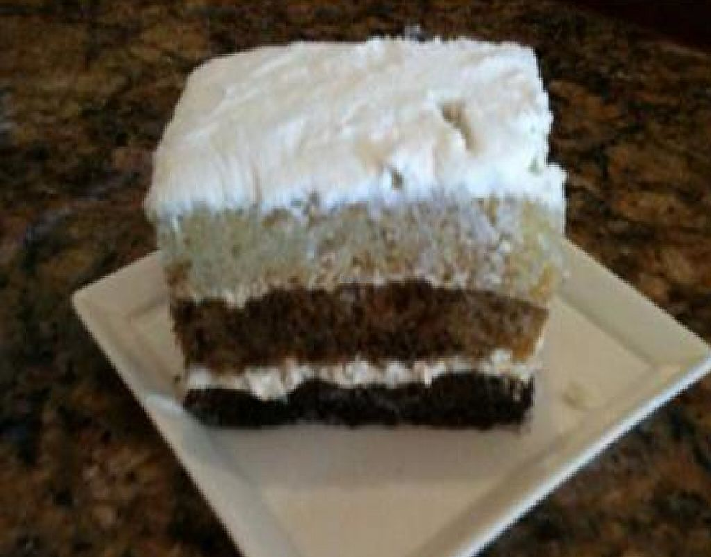 """Photo of Dama Pastry and Restaurant  by <a href=""""/members/profile/jrfishe1"""">jrfishe1</a> <br/>Vegan Velvet Cake (chocolate, vanilla, and mocha) <br/> July 23, 2010  - <a href='/contact/abuse/image/23008/232109'>Report</a>"""