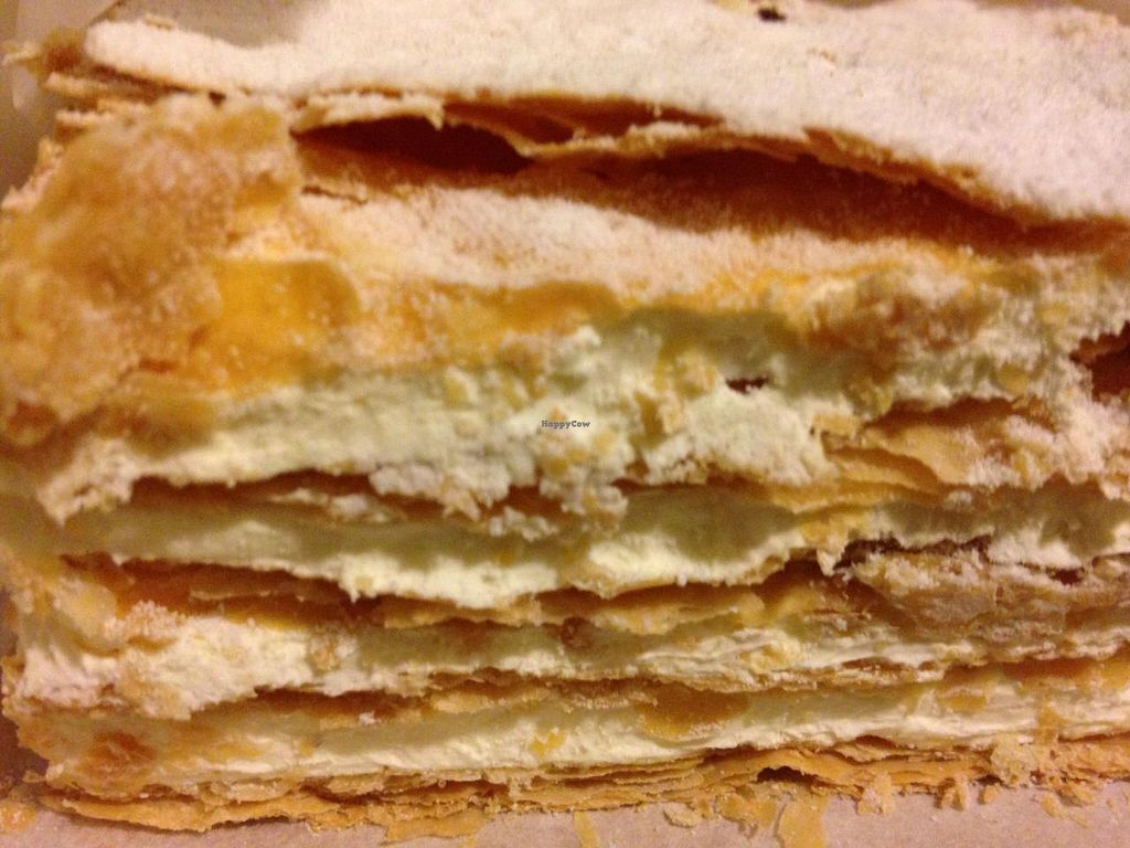 """Photo of Dama Pastry and Restaurant  by <a href=""""/members/profile/cookiem"""">cookiem</a> <br/>Vegan pastry- Mille fois/ feuille- has puff pastry with vegan lemon creme and powdered sugar  <br/> April 19, 2014  - <a href='/contact/abuse/image/23008/67996'>Report</a>"""