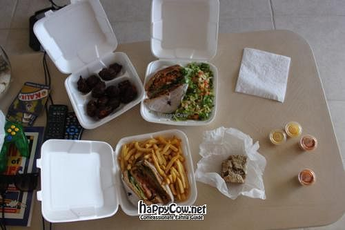 """Photo of Livity Vegetarian Take-out and Juice Bar  by <a href=""""/members/profile/fcbjr88"""">fcbjr88</a> <br/>Veggie Fritters, Veggie Sandwiches, Fries, Salad, Spice Bread, And Vegan Mayo Dips <br/> April 5, 2012  - <a href='/contact/abuse/image/23019/30242'>Report</a>"""