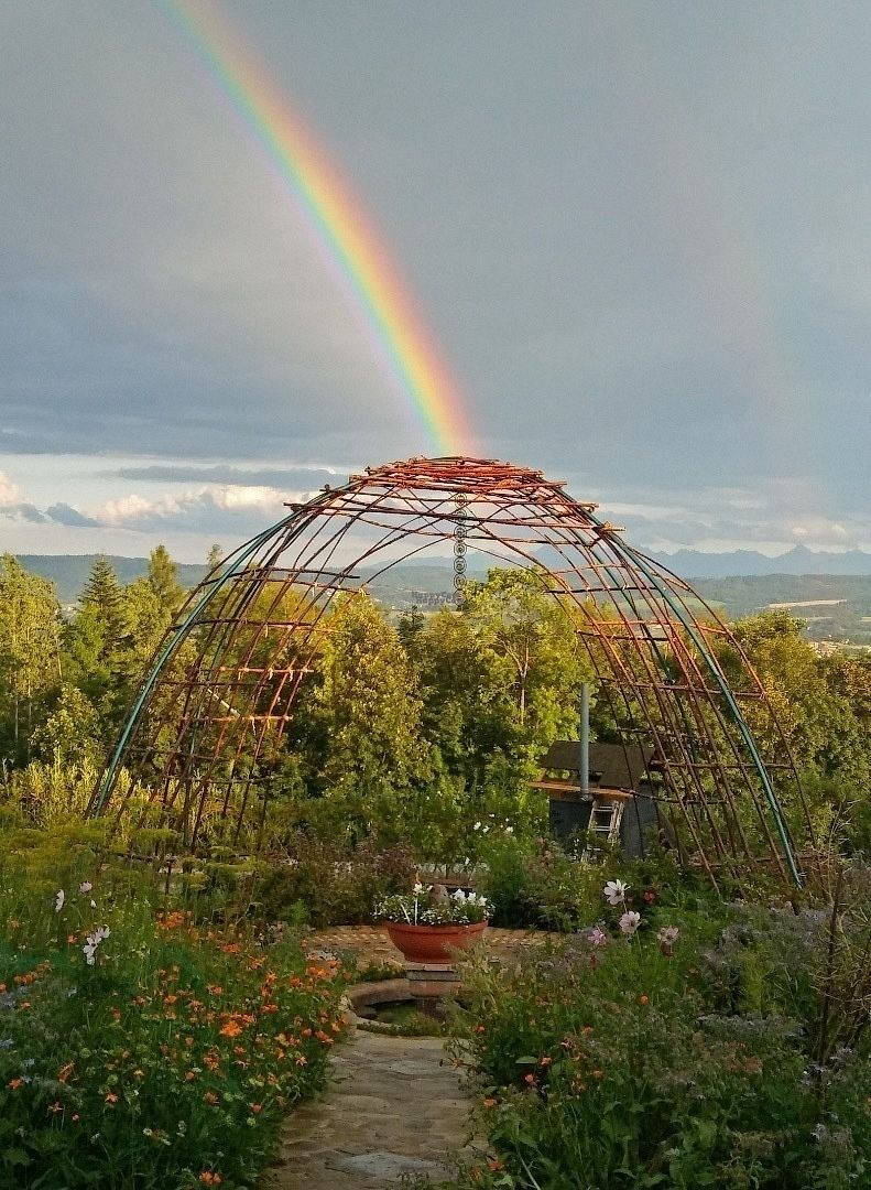 "Photo of EcoVillage Bhrugu Aranya  by <a href=""/members/profile/Veggie%20Mama"">Veggie Mama</a> <br/>Rainbow over Mandala Garden at Ecovillage Bhrugu Aranya <br/> September 23, 2016  - <a href='/contact/abuse/image/23142/177524'>Report</a>"