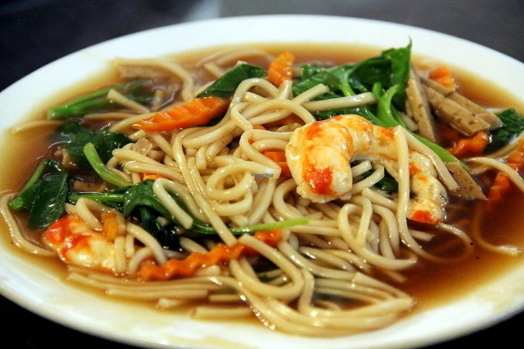 """Photo of Evergreen Vegetarian and Cafe House  by <a href=""""/members/profile/reissausta%20ja%20ruokaa"""">reissausta ja ruokaa</a> <br/>Noodles with mock seafood like mock prawns.  <br/> December 19, 2016  - <a href='/contact/abuse/image/23190/202976'>Report</a>"""