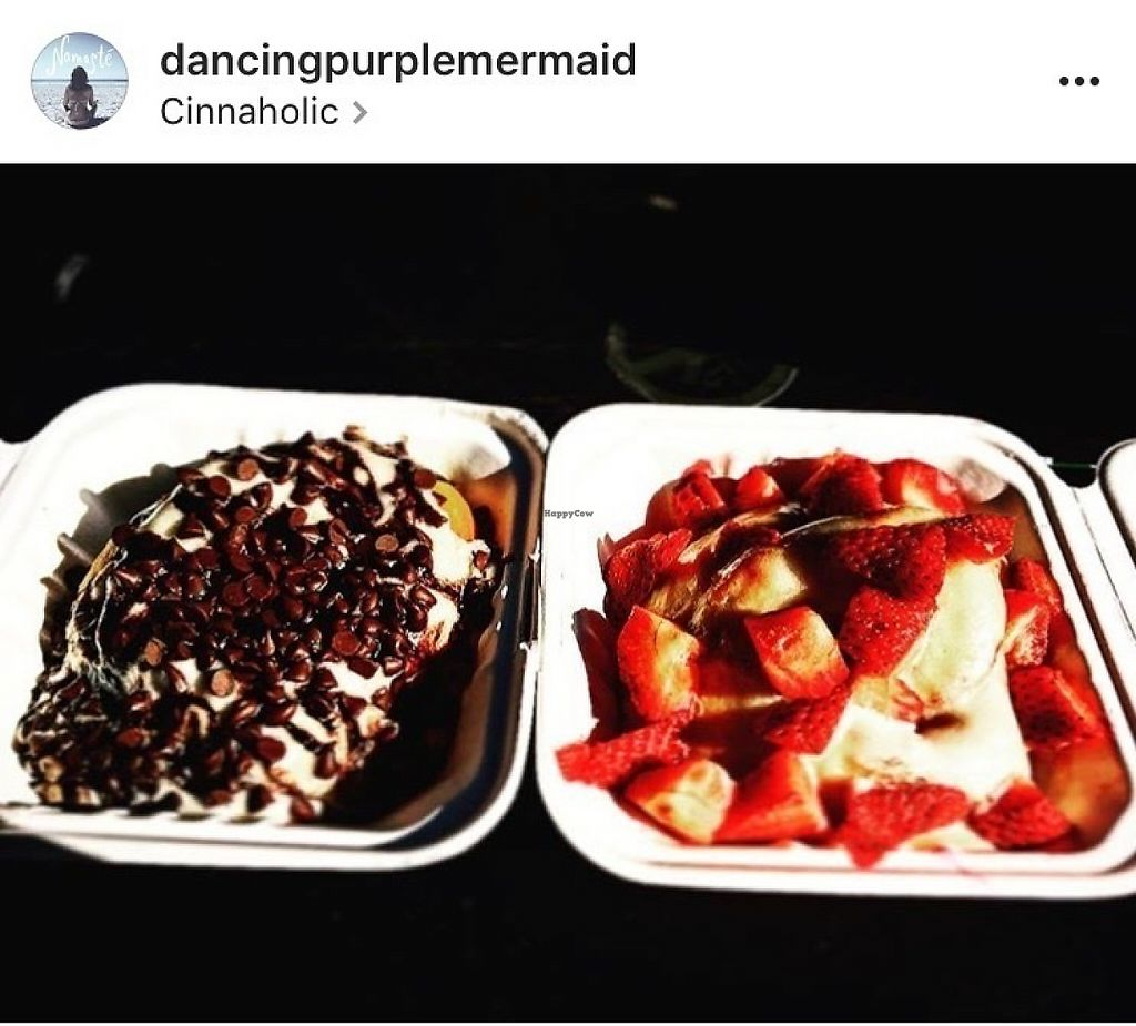 "Photo of Cinnaholic  by <a href=""/members/profile/Dancingpurplemermaid"">Dancingpurplemermaid</a> <br/>Cinnamon rolls vegan  1) banana chocolate 2 strawberry vanilla <br/> May 31, 2017  - <a href='/contact/abuse/image/23203/264526'>Report</a>"