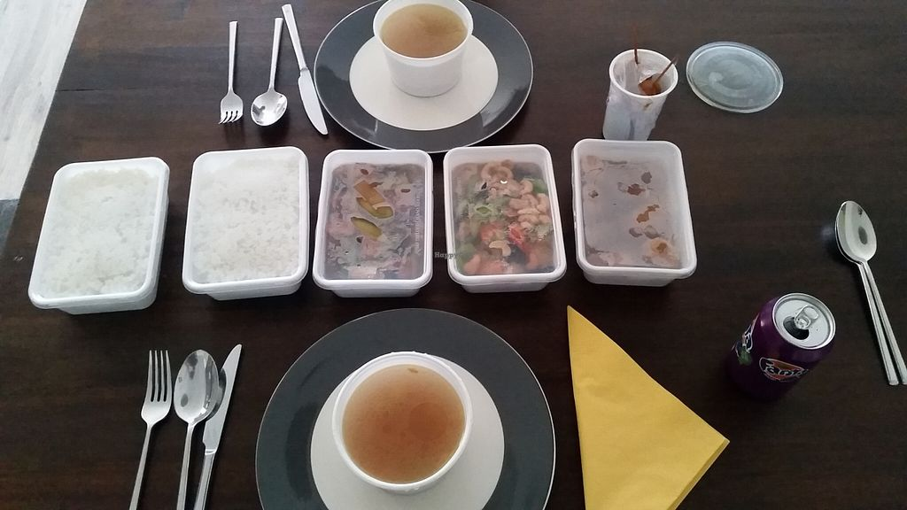 """Photo of Soy  by <a href=""""/members/profile/EelcoJamesDio"""">EelcoJamesDio</a> <br/>The 2 person menu: 2 boxes of rice, 3 boxes of other items, some sate and (not in pic) a big tub of chicken soup.  <br/> August 19, 2015  - <a href='/contact/abuse/image/23246/114313'>Report</a>"""