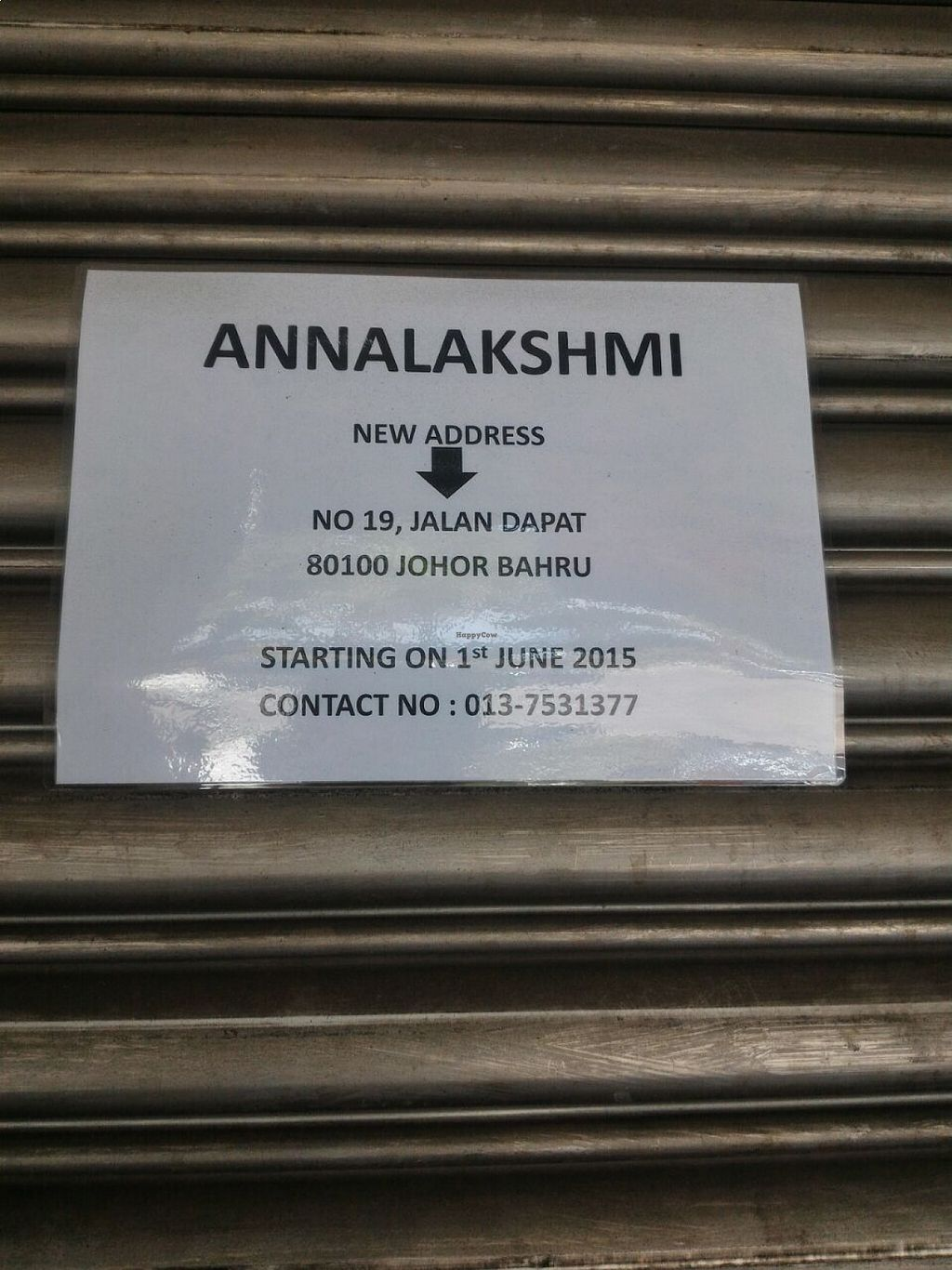 """Photo of Annalakshmi Restaurant  by <a href=""""/members/profile/ouikouik"""">ouikouik</a> <br/>moved as of 1 june 2015 <br/> August 19, 2015  - <a href='/contact/abuse/image/23250/114250'>Report</a>"""