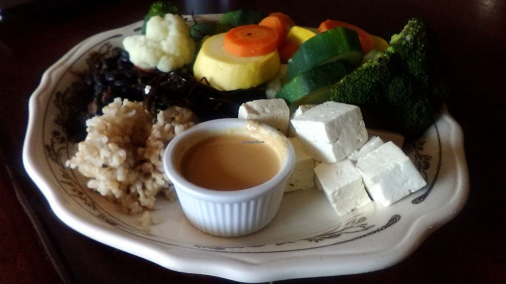 "Photo of The Rosendale Cafe  by <a href=""/members/profile/foodfirst"">foodfirst</a> <br/>The Rosendale Cafe's ""Zen Platter,"" one of the restaurant's vegan offerings, from a visit in May 2017. This entree was ordered with the steamed vegetables cooked al dente. The reviewer chose the tahini sauce, seen in the foreground. In addition to the veggies and sauce, the dish also includes tofu, black beans, and brown rice.  <br/> May 13, 2017  - <a href='/contact/abuse/image/2334/258522'>Report</a>"