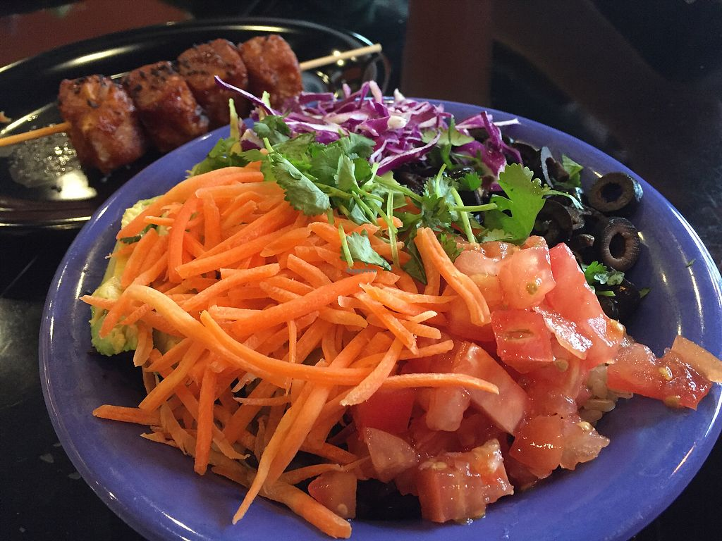 "Photo of Cafe Yumm - North Delta Center  by <a href=""/members/profile/VeganCookieLover"">VeganCookieLover</a> <br/>Original bowl (made vegan) with tofu skewer <br/> February 19, 2018  - <a href='/contact/abuse/image/23360/361207'>Report</a>"