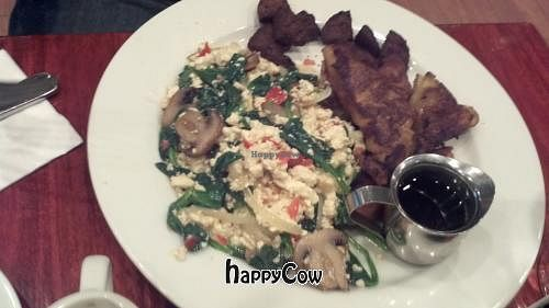 """Photo of CLOSED: V Note  by <a href=""""/members/profile/vegansoul"""" class=""""title__title"""">vegansoul</a> <br/>Tofu Scramble, Sausage and French Toast <br/> October 13, 2012  - <a href='/contact/abuse/image/23368/39086'>Report</a>"""