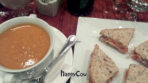 """Photo of CLOSED: V Note  by <a href=""""/members/profile/vegansoul"""">vegansoul</a> <br/>Tomato Soup and Grilled Cheese <br/> October 13, 2012  - <a href='/contact/abuse/image/23368/39087'>Report</a>"""