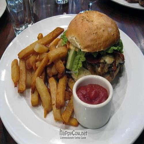 """Photo of CLOSED: V Note  by <a href=""""/members/profile/From%20A%20to%20Vegan"""">From A to Vegan</a> <br/>Soy Bacon Cheeseburger caramelized onions, vegan cheese, soy bacon, mushrooms, lettuce, tomato, chipotle aioli, sesame roll <br/> May 31, 2011  - <a href='/contact/abuse/image/23368/8862'>Report</a>"""