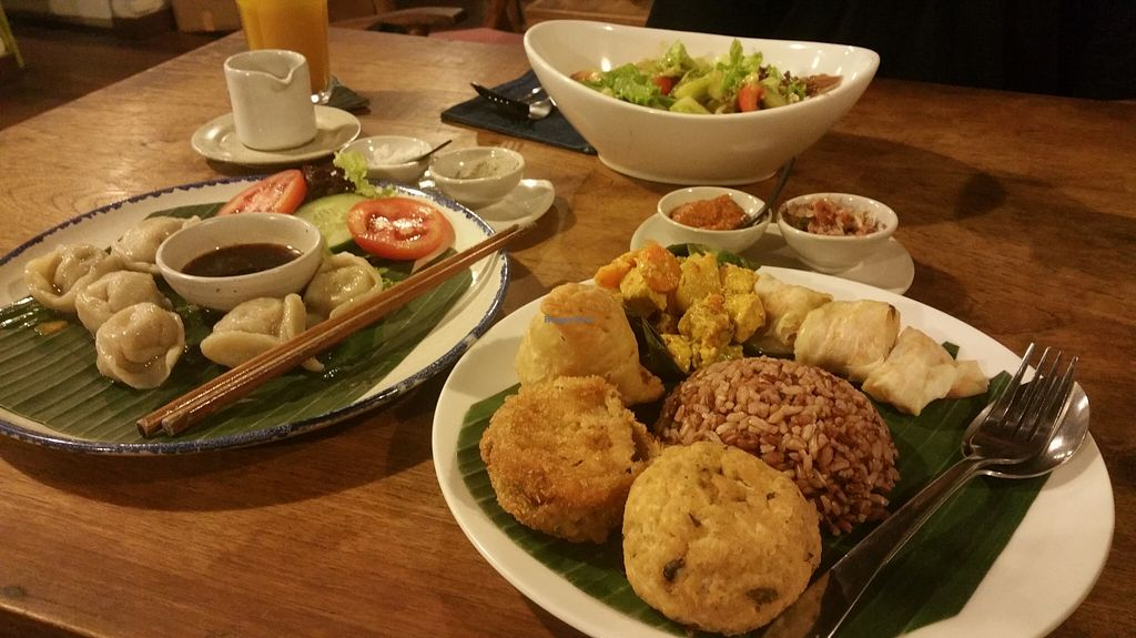 """Photo of Sopa - Jalan Sugriwa  by <a href=""""/members/profile/Rosa%20veg"""">Rosa veg</a> <br/>Gyoza,salad and nasi campur <br/> February 17, 2016  - <a href='/contact/abuse/image/23473/136732'>Report</a>"""