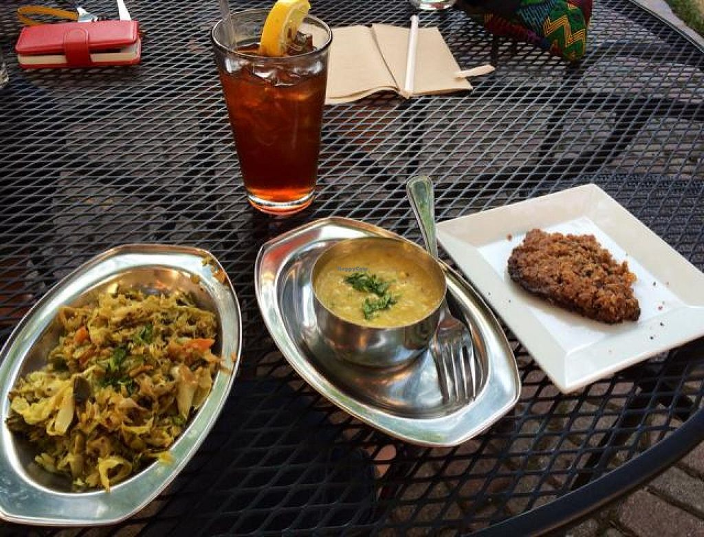 "Photo of Vimala's Curryblossom Cafe  by <a href=""/members/profile/tauberl"">tauberl</a> <br/>cabbage dish, daal, iced tea and oatmeal cookie <br/> June 8, 2014  - <a href='/contact/abuse/image/23534/71671'>Report</a>"