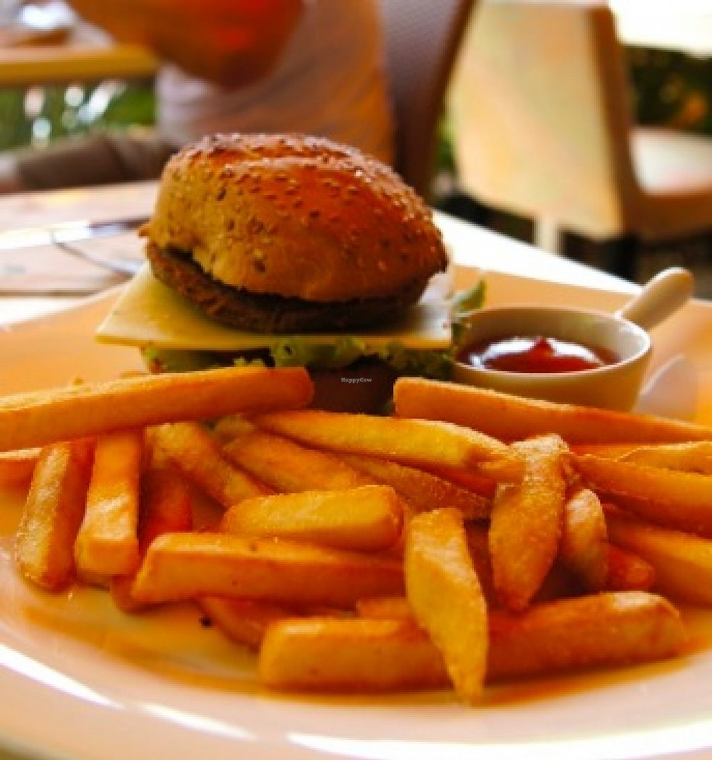 """Photo of Loving Hut - Menton  by <a href=""""/members/profile/MilaY"""">MilaY</a> <br/>vegan burger with french fries!!  <br/> September 11, 2015  - <a href='/contact/abuse/image/23603/117325'>Report</a>"""