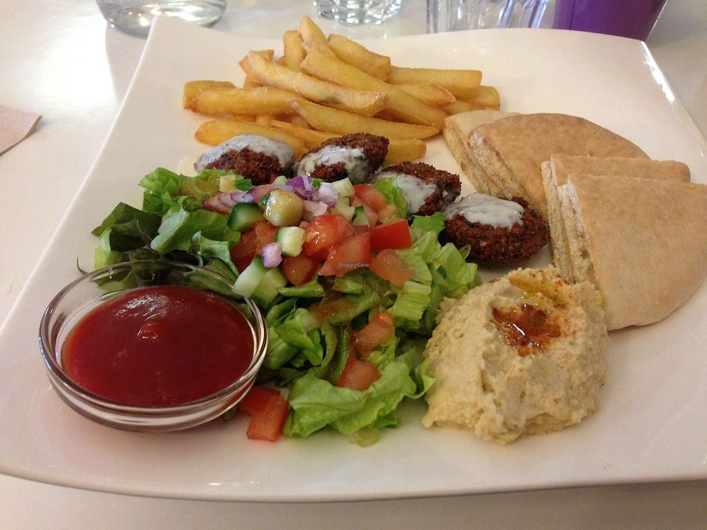 """Photo of Loving Hut - Menton  by <a href=""""/members/profile/LolaKritz"""">LolaKritz</a> <br/>Falafel, hummus and salad with fries <br/> August 9, 2017  - <a href='/contact/abuse/image/23603/290960'>Report</a>"""