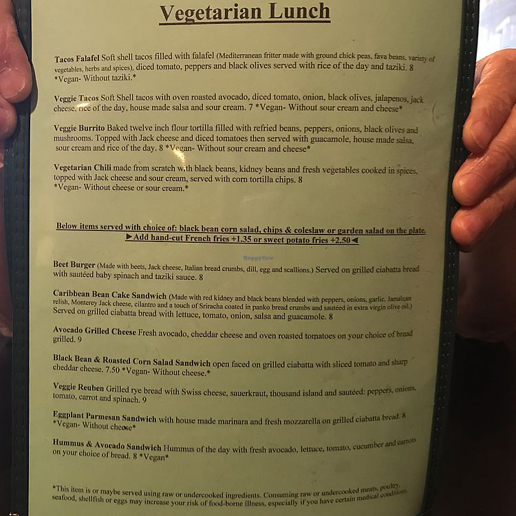 """Photo of CLOSED: Salt Bay Cafe  by <a href=""""/members/profile/Sarah%20P"""">Sarah P</a> <br/>veg menu lunch <br/> June 8, 2017  - <a href='/contact/abuse/image/23626/267139'>Report</a>"""