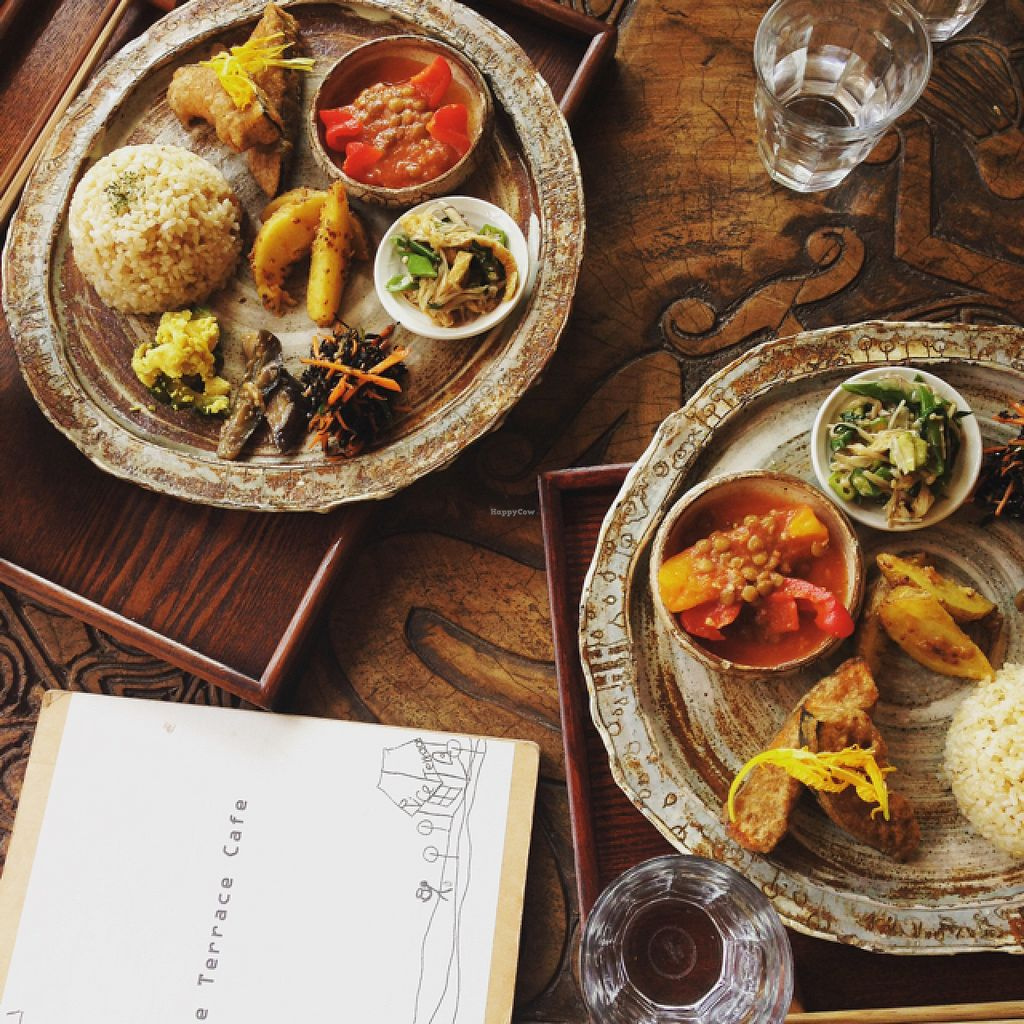 """Photo of Rice Terrace Cafe  by <a href=""""/members/profile/macalena725"""">macalena725</a> <br/>lunch set-- all vegan <br/> August 2, 2015  - <a href='/contact/abuse/image/23648/111965'>Report</a>"""