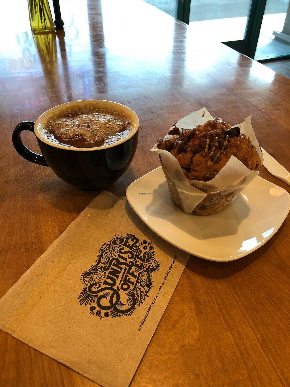 "Photo of Sunrise Coffee  by <a href=""/members/profile/veganinsandiego"">veganinsandiego</a> <br/> Vegan pumpkin muffin (gluten free too) <br/> November 24, 2017  - <a href='/contact/abuse/image/23726/328643'>Report</a>"