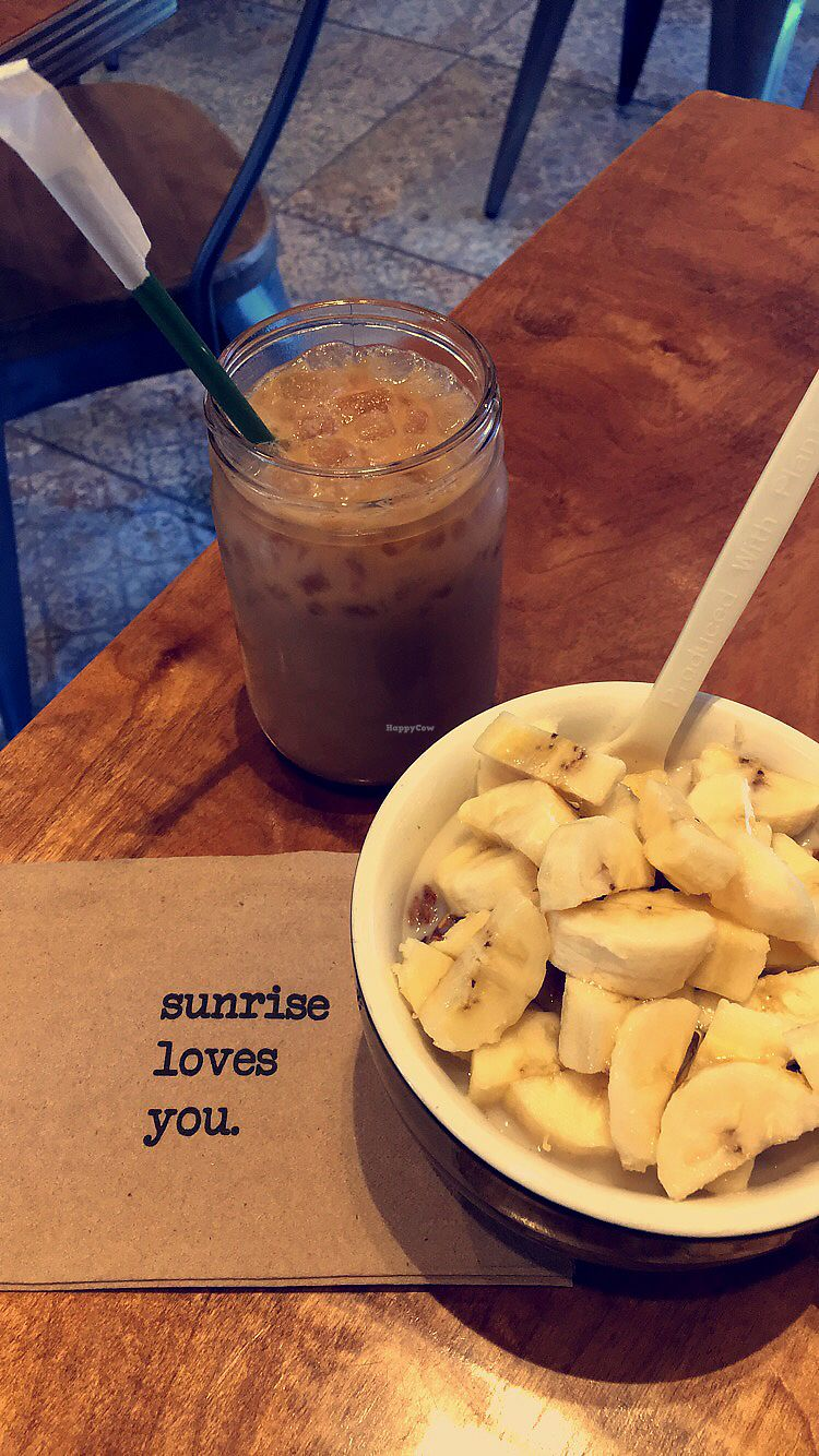 """Photo of Sunrise Coffee  by <a href=""""/members/profile/mharris06"""">mharris06</a> <br/>Featuring the Granola for Happy Tummy with almond milk and a hazelnut almond milk iced latte! <br/> March 26, 2018  - <a href='/contact/abuse/image/23726/376587'>Report</a>"""