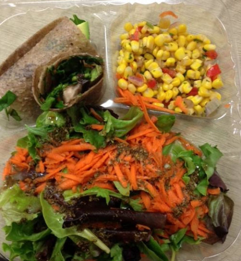 "Photo of The Garden Kitchen  by <a href=""/members/profile/rctexus"">rctexus</a> <br/>Spinach Portobello in coconut wrap, corn salad and side salad with Herbes de Provence house dressing.  Excellent raw vegan lunch! <br/> April 24, 2012  - <a href='/contact/abuse/image/23735/229101'>Report</a>"