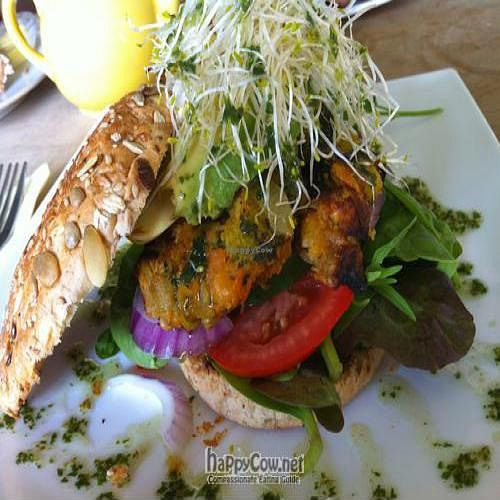 """Photo of CLOSED: Attic Cafe  by <a href=""""/members/profile/Jo%20Kay"""">Jo Kay</a> <br/>Vegan sweet potato and vegetable burger with avocado, alfalfa sprouts and relish <br/> September 8, 2010  - <a href='/contact/abuse/image/23741/5795'>Report</a>"""