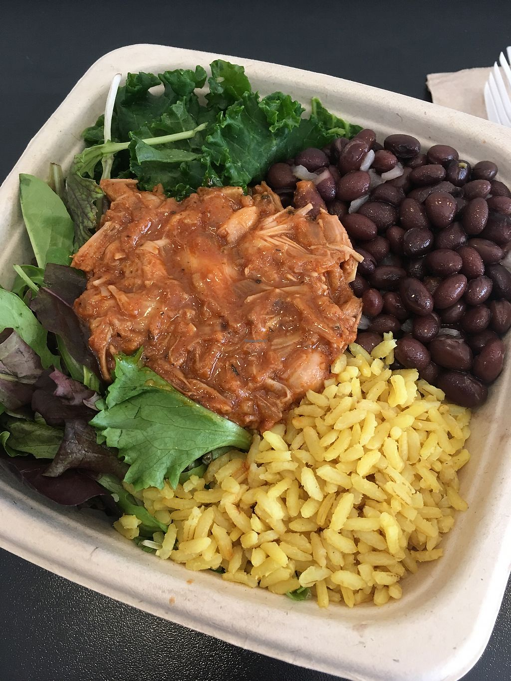 """Photo of Blossom Du Jour - Chelsea  by <a href=""""/members/profile/hokusai77"""">hokusai77</a> <br/>Bowl with greens, marinated kale, savoury rice, black beans and jackfruit <br/> January 30, 2018  - <a href='/contact/abuse/image/23767/352753'>Report</a>"""