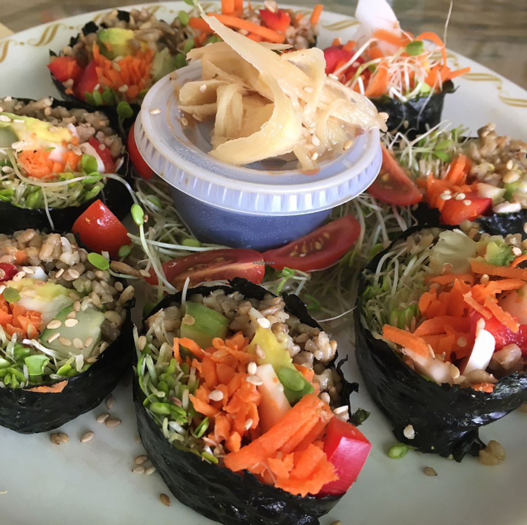 """Photo of Rainbow Living Foods  by <a href=""""/members/profile/Whatresonates"""">Whatresonates</a> <br/>Nori rolls <br/> May 13, 2017  - <a href='/contact/abuse/image/23777/258500'>Report</a>"""