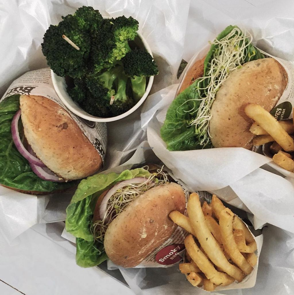"""Photo of VeganBurg  by <a href=""""/members/profile/caitjoy"""">caitjoy</a> <br/>Burgers + sides <br/> April 10, 2017  - <a href='/contact/abuse/image/23779/246627'>Report</a>"""