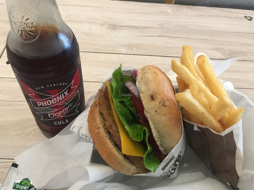 """Photo of VeganBurg  by <a href=""""/members/profile/jatindersingh"""">jatindersingh</a> <br/>burger, fries and root beer <br/> May 29, 2017  - <a href='/contact/abuse/image/23779/263823'>Report</a>"""