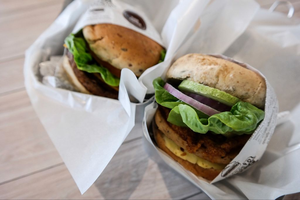 """Photo of VeganBurg  by <a href=""""/members/profile/cherilynsaw"""">cherilynsaw</a> <br/>satay burger ( right ) and BBQ burger (left) <br/> June 5, 2017  - <a href='/contact/abuse/image/23779/266182'>Report</a>"""