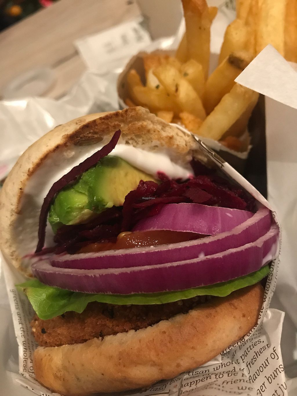 """Photo of VeganBurg  by <a href=""""/members/profile/MelissaEklund"""">MelissaEklund</a> <br/>Avocado beetroot burger  <br/> February 13, 2018  - <a href='/contact/abuse/image/23779/358838'>Report</a>"""