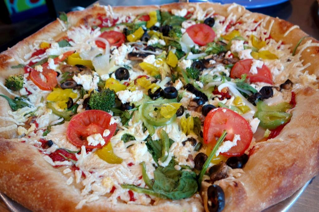 """Photo of Mellow Mushroom  by <a href=""""/members/profile/Gudrun"""">Gudrun</a> <br/>vegan pizza! <br/> June 13, 2015  - <a href='/contact/abuse/image/23857/105806'>Report</a>"""