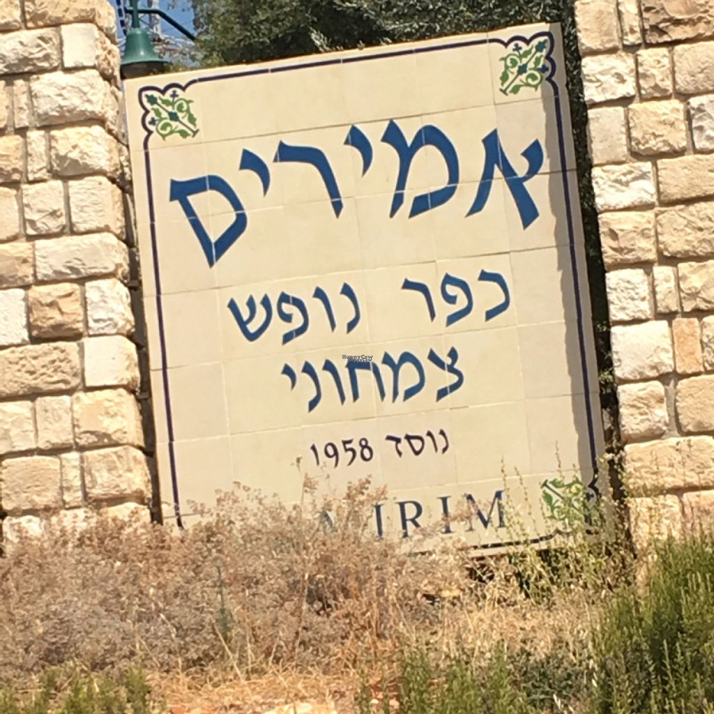 """Photo of Moshav Amirim Village  by <a href=""""/members/profile/daroff"""">daroff</a> <br/>Town sign  <br/> August 7, 2016  - <a href='/contact/abuse/image/23862/166711'>Report</a>"""