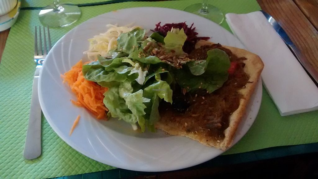 """Photo of Le Tournesol Cuisine Vegetarienne  by <a href=""""/members/profile/JonJon"""">JonJon</a> <br/>Pissaladière (onion pie) and salad <br/> February 21, 2016  - <a href='/contact/abuse/image/23963/137292'>Report</a>"""