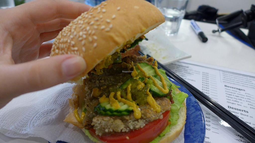"""Photo of Loving Hut - Songde Rd  by <a href=""""/members/profile/Kimxula"""">Kimxula</a> <br/>veggie burger <br/> June 15, 2015  - <a href='/contact/abuse/image/24034/106017'>Report</a>"""