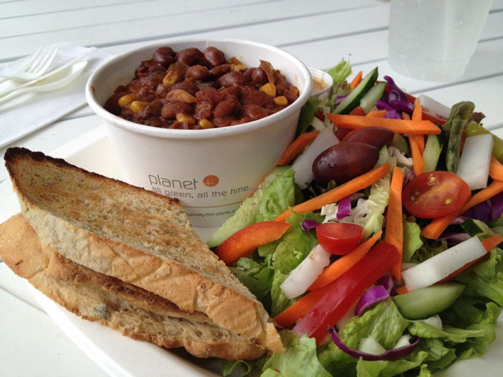 """Photo of Cafe Ono  by <a href=""""/members/profile/Veg4Jay"""">Veg4Jay</a> <br/>Vegan Chili, Rice, and Salad <br/> January 14, 2015  - <a href='/contact/abuse/image/24068/90392'>Report</a>"""