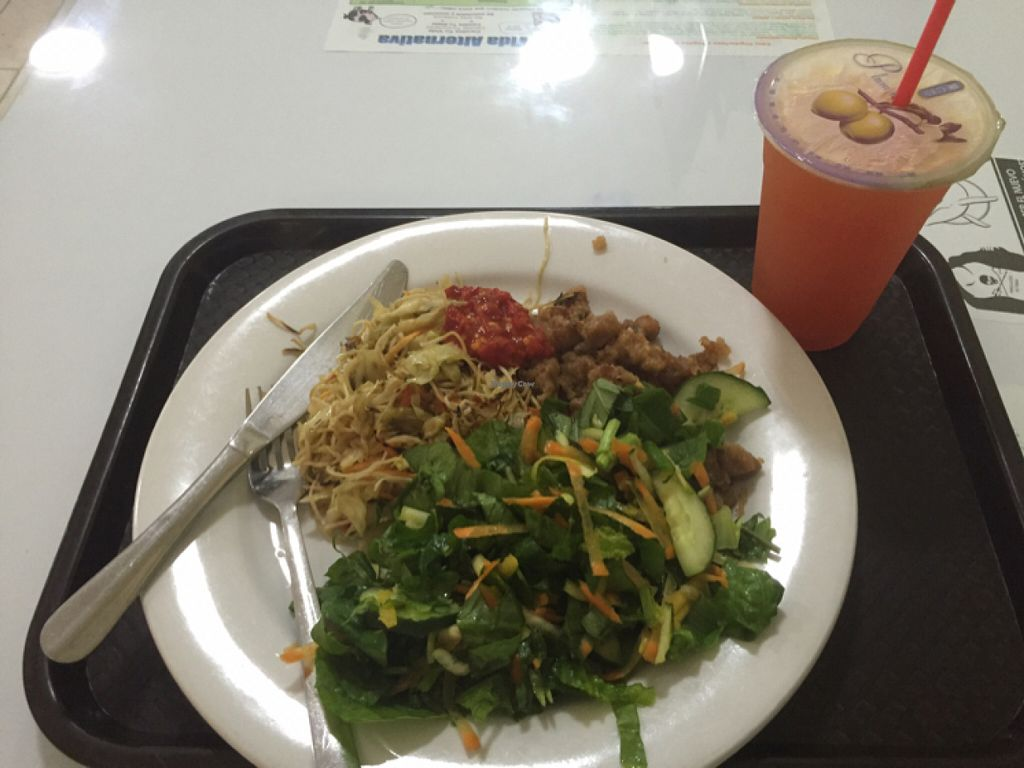 """Photo of Loving Hut  by <a href=""""/members/profile/kim2121"""">kim2121</a> <br/>salad, noodles, sweet and sour, juice  <br/> July 6, 2016  - <a href='/contact/abuse/image/24077/158061'>Report</a>"""