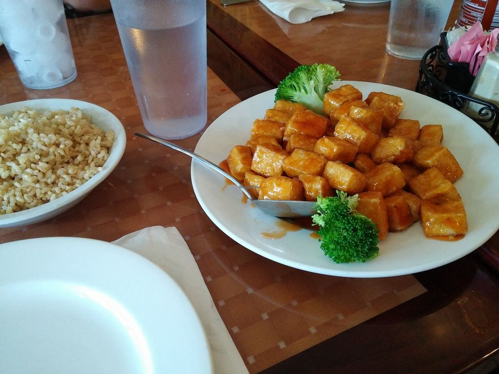"""Photo of Mandarin Chinese Food and Sushi  by <a href=""""/members/profile/motherofkittens"""">motherofkittens</a> <br/>Brown rice & Orange Crispy Tofu <br/> October 11, 2015  - <a href='/contact/abuse/image/24089/121041'>Report</a>"""