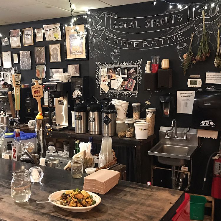 """Photo of Local Sprouts Cafe  by <a href=""""/members/profile/Sarah%20P"""">Sarah P</a> <br/>behind the counter  <br/> June 15, 2017  - <a href='/contact/abuse/image/24091/269573'>Report</a>"""