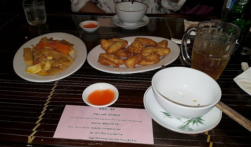 "Photo of Truc Lam Trai  by <a href=""/members/profile/WoodyAndBertie"">WoodyAndBertie</a> <br/>Fried Lotus and Mock Chicken <br/> August 11, 2017  - <a href='/contact/abuse/image/24108/291406'>Report</a>"