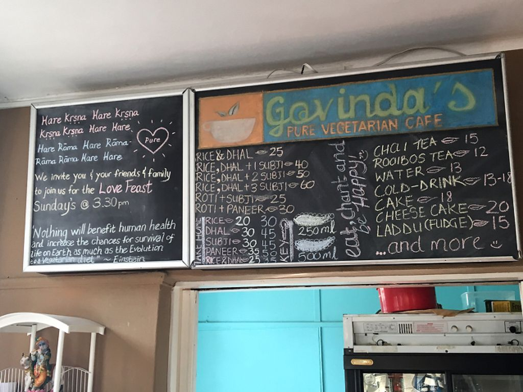"Photo of Govinda's Natural Food Cafe  by <a href=""/members/profile/Bernie1500"">Bernie1500</a> <br/>menu board at Govinda's <br/> March 15, 2017  - <a href='/contact/abuse/image/24125/236778'>Report</a>"