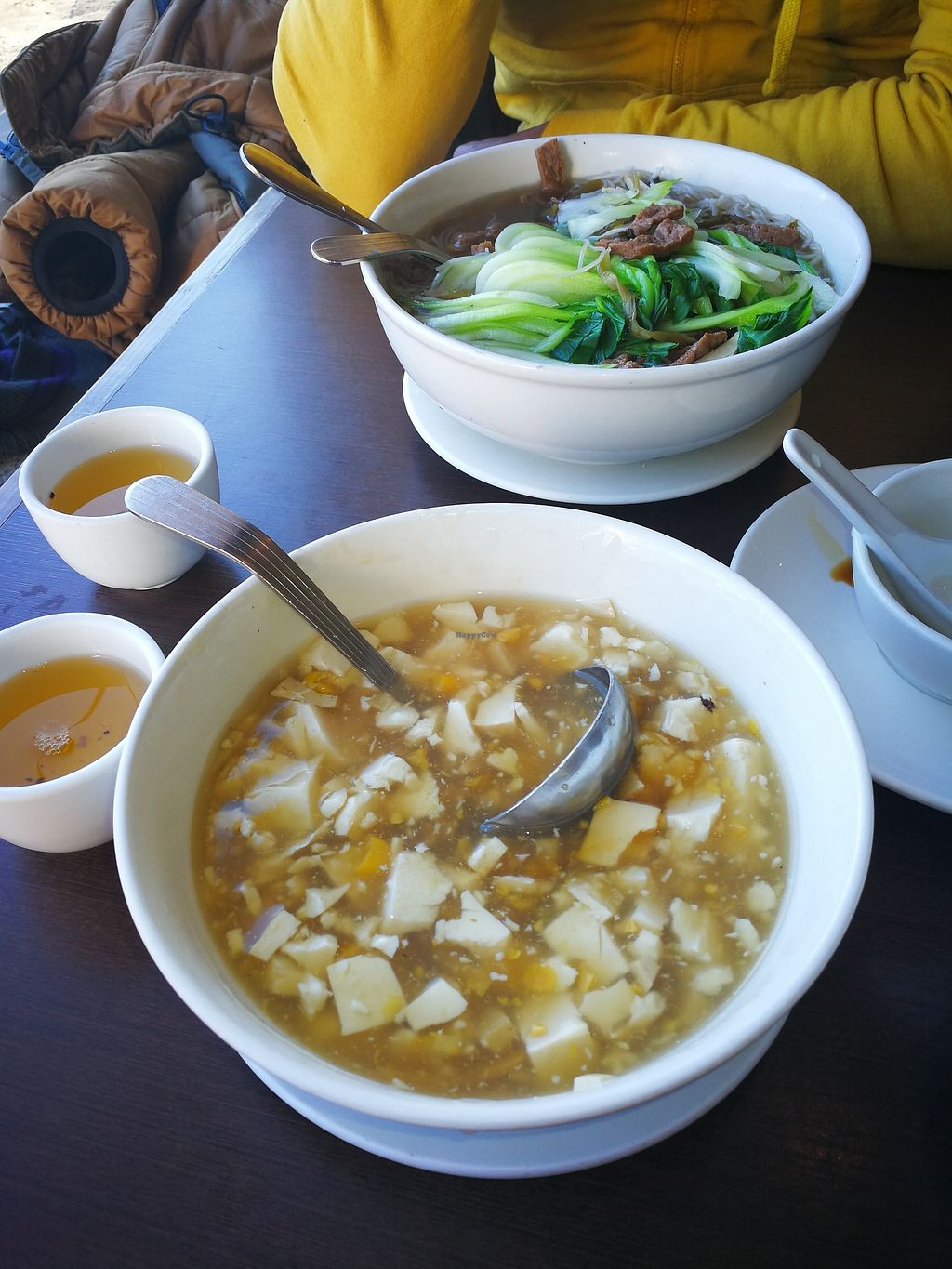 """Photo of Greens Vegetarian Restaurant  by <a href=""""/members/profile/Sharkademus"""">Sharkademus</a> <br/>Medium sized Corn soup with mock chicken(turned out to be just tofu)  <br/> March 4, 2018  - <a href='/contact/abuse/image/24128/366412'>Report</a>"""