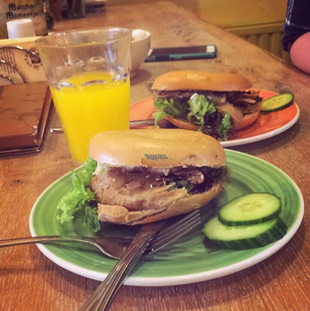 """Photo of Bagels & Beans - Raadhuisstraat  by <a href=""""/members/profile/PrawnCracker"""">PrawnCracker</a> <br/>Modified vegetarian chicken teriyaki bagel  <br/> October 8, 2016  - <a href='/contact/abuse/image/24140/180559'>Report</a>"""