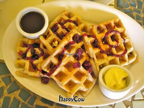 "Photo of Morning Glory Cafe  by <a href=""/members/profile/blisssu"">blisssu</a> <br/>Vegan Cranberry Walnut Waffles with maple syrup and vegan spread <br/> June 21, 2013  - <a href='/contact/abuse/image/2418/49898'>Report</a>"