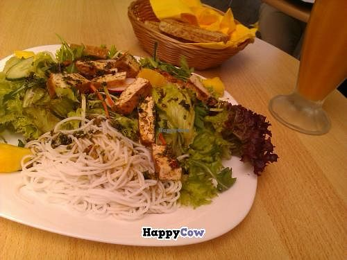 """Photo of Ananda - Acherstrasse  by <a href=""""/members/profile/Mademoisella"""">Mademoisella</a> <br/>Tofu salad with a fruit juice <br/> October 7, 2013  - <a href='/contact/abuse/image/24195/56344'>Report</a>"""