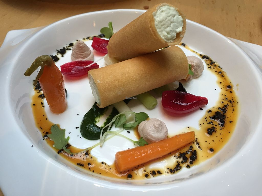 """Photo of Hectors Restaurant  by <a href=""""/members/profile/sglcklch"""">sglcklch</a> <br/>Tomato salad and coconut yoghurt cannelloni <br/> December 11, 2015  - <a href='/contact/abuse/image/24198/127918'>Report</a>"""