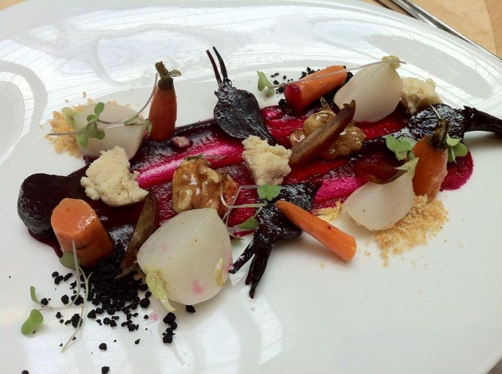 """Photo of Hectors Restaurant  by <a href=""""/members/profile/tararenaemcgee"""">tararenaemcgee</a> <br/>Macadamia cheese and poached baby vegetable salad: Beet paint, dates, dehydrated black olive, celeriac flakes  <br/> February 19, 2015  - <a href='/contact/abuse/image/24198/93533'>Report</a>"""