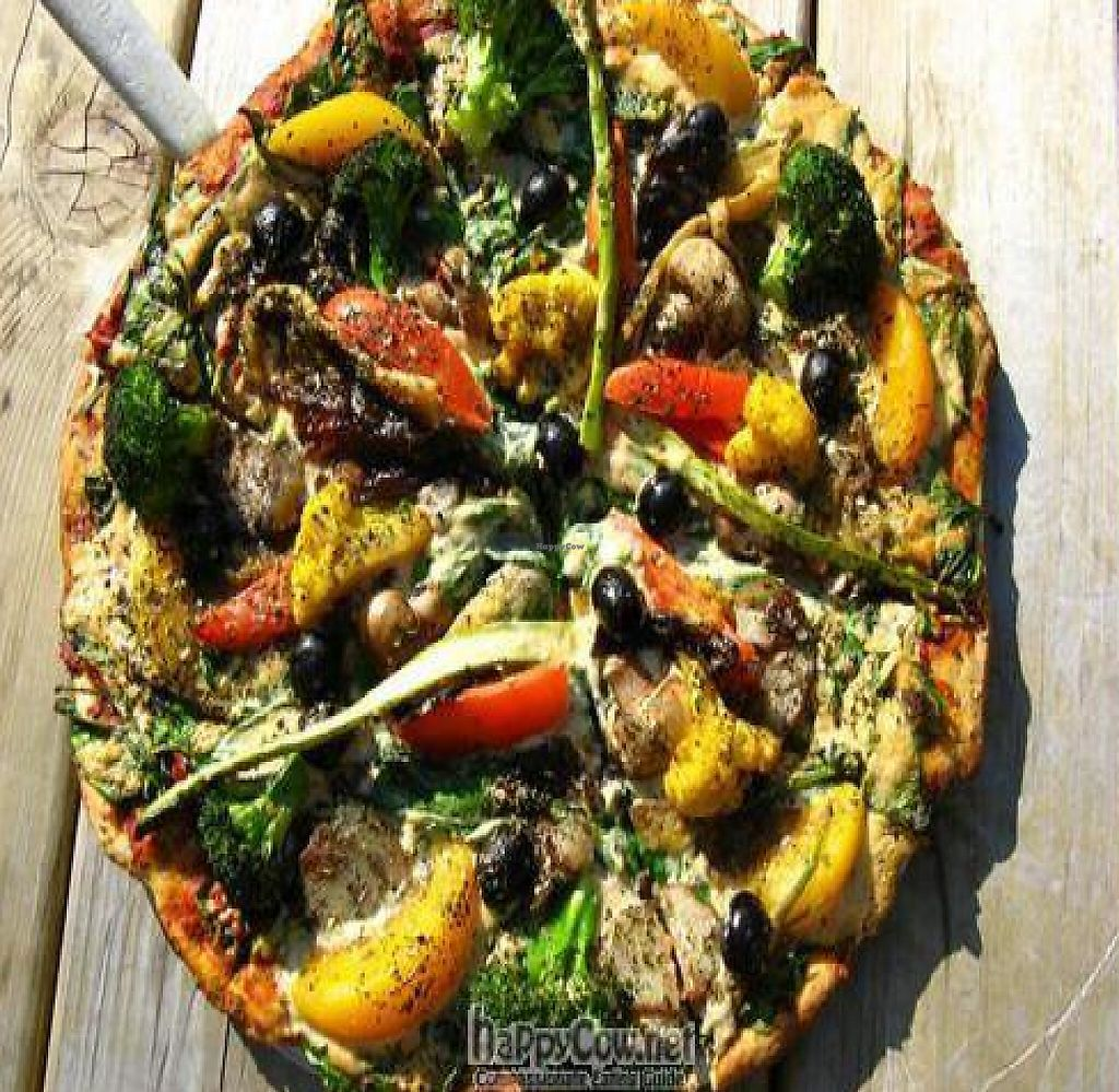 """Photo of Pizza Research Institute  by <a href=""""/members/profile/Veganpassion"""">Veganpassion</a> <br/>Vegan Chef's Choice Pizza <br/> November 5, 2009  - <a href='/contact/abuse/image/2419/218865'>Report</a>"""